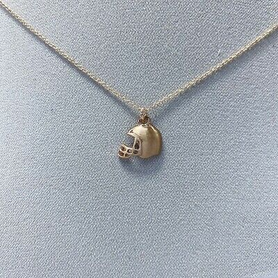 Dainty Rose Gold Tone American Football Helmet Design Shape Pendant Necklace