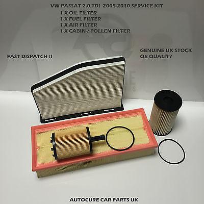VW PASSAT 2005-2010 2.0 TDI DIESEL SERVICE KIT OIL AIR FUEL CABIN FILTER