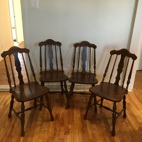 Antique Windsor Style Dinning Chairs (set Of 4)