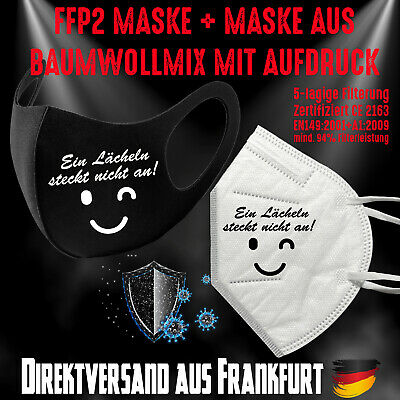 FFP2 Maske CE 2163 + Fashion Mask Mundschutz Mundmaske Lächeln steckt nicht an