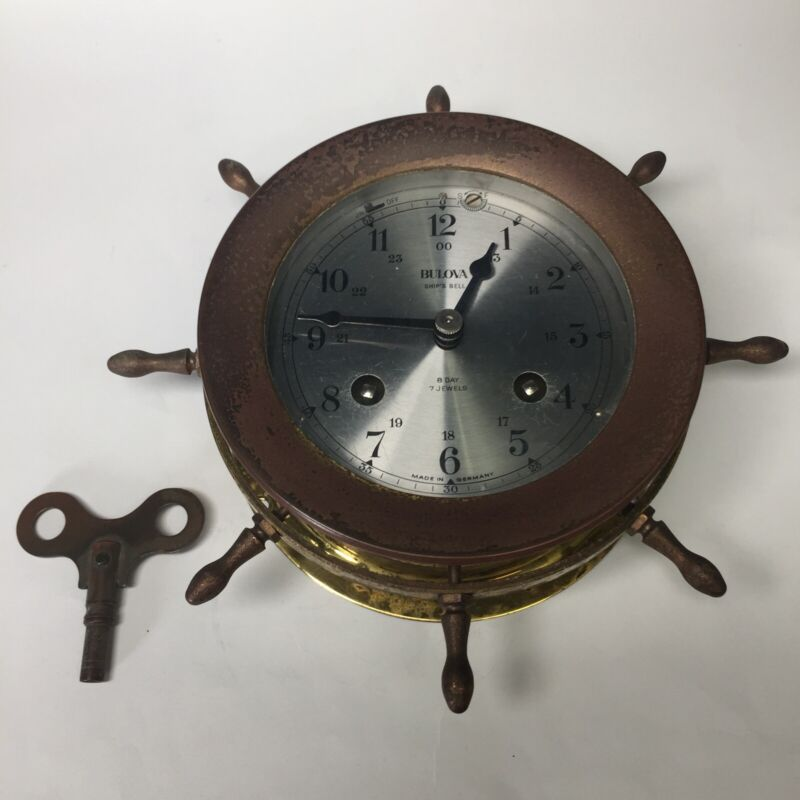 Old Bulova Brass Ship