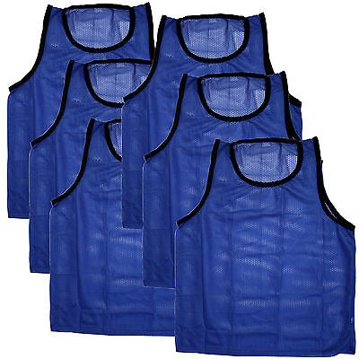 SET of 6 SCRIMMAGE VESTS PINNIES SOCCER ADULT Blue ~ NEW!
