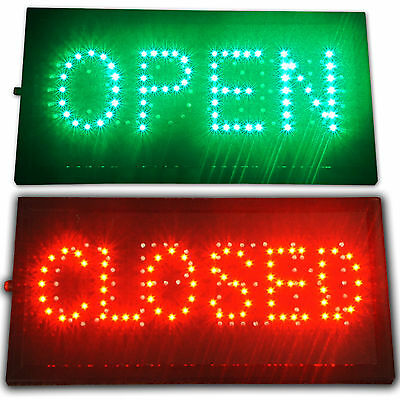 "Bright LED 2 in1 Open & Closed Store Shop Business Sign 19x10"" Display neon"