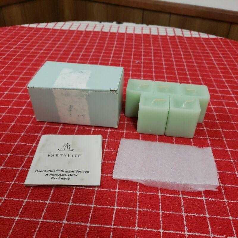 Partylite Scent Plus Square Votives Honeydew Mint Partial Box of 5. Unlit.