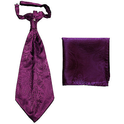 New men's polyester ASCOT cravat neck tie & hankie set Purple Paisley prom
