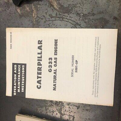 Caterpillar Cat Engine D333 Operation Maintenance 58b1-up Nice Gas Propane