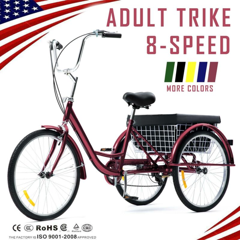 "26""/24""/20"" 8 Speed Adult Tricycle Trike Cruise 3-Wheel Bike"