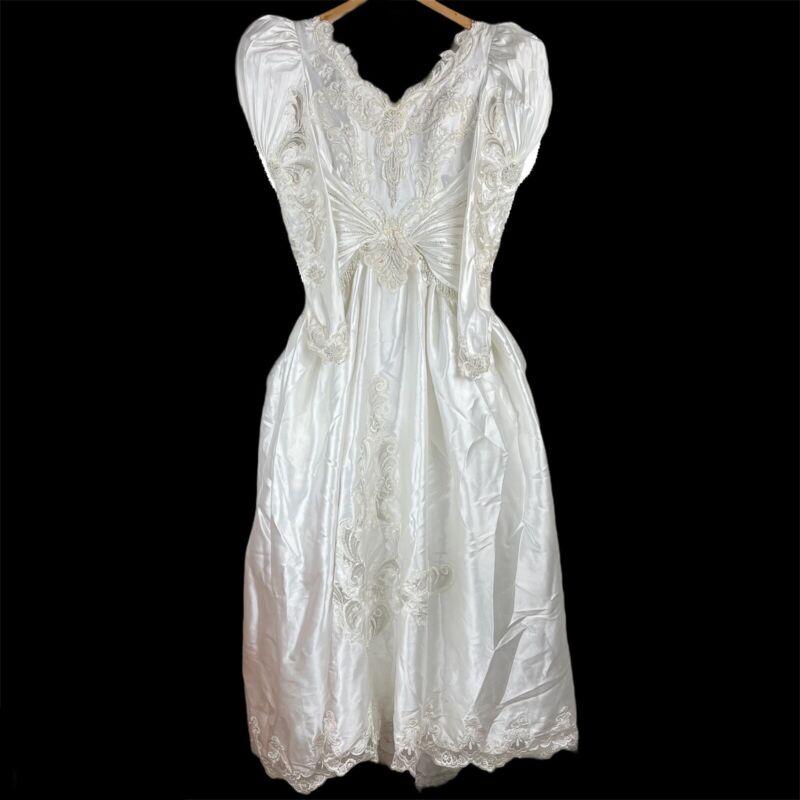Vintage Bonny White Bow Beaded Pearl Rhinestone Plus Size 14