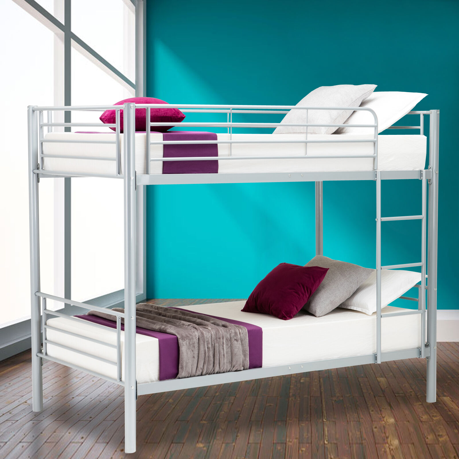 metal twin over twin bunk beds frame ladder kids adult children bedroom dorm