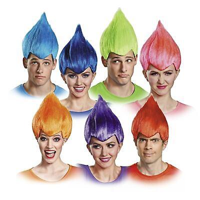 Adult Men's Women's Trolls Blue Pink Green Orange Red Purple Cosplay Costume Wig - Pink Troll Wig