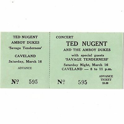 1974 TED NUGENT & BOB SEGER & SAVAGE TENDERNESS Concert Ticket Stub FESTUS MO