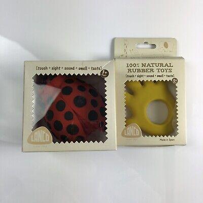 Lot Of 2 Lanco Sensory Baby Toys 100% Natural Organic BPA Free Handmade