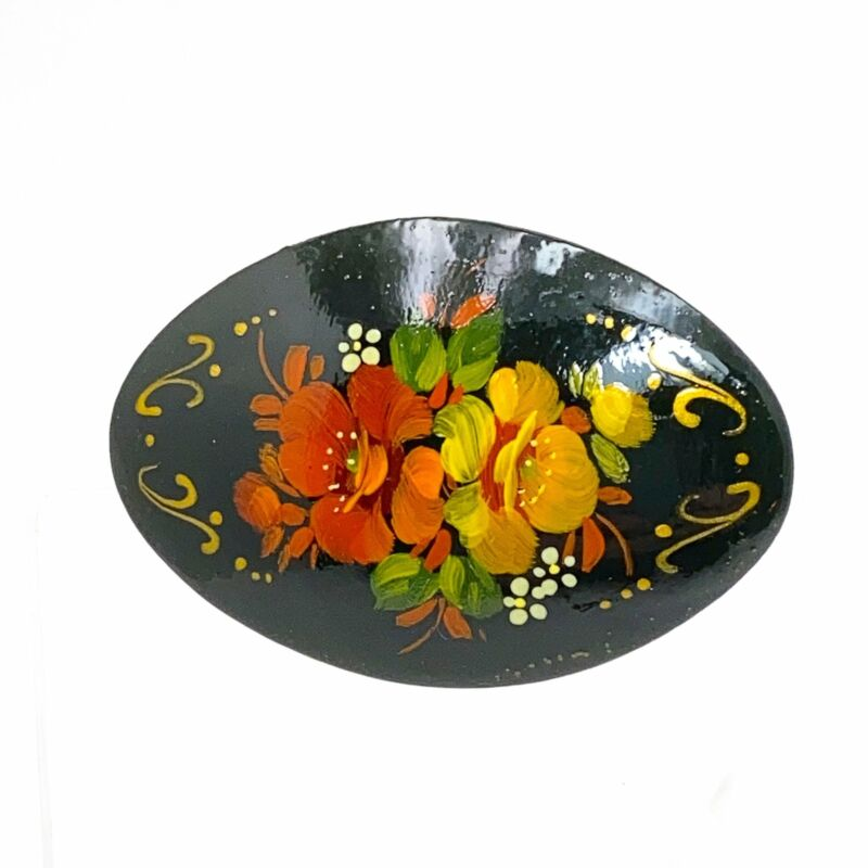 Russian Lacquer Brooch Floral Folkart Red Yellow Rosemaling Signed