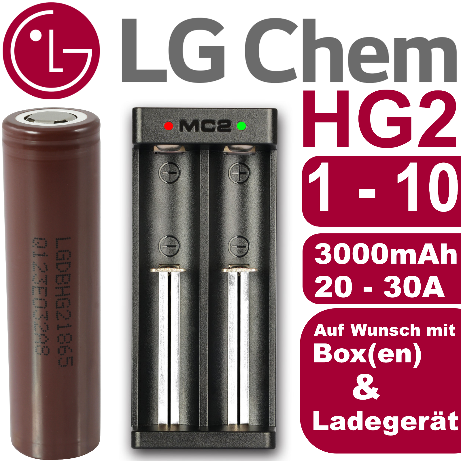LG HG2 original Akku Li-Ion - 18650 20A - für E-Zigarette Subohm Dampfer Shisha