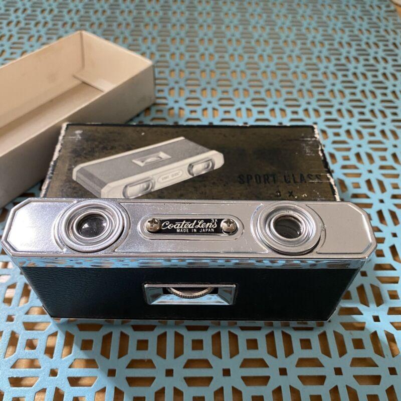 Vintage Sportiere 3X Binoculars Coated Lens Original Box, Black, Made In Japan