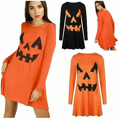 Scary Dresses For Halloween (Womens Halloween Pumpkin Ladies Scary Costume Fancy Swing Dress Uk Plus)