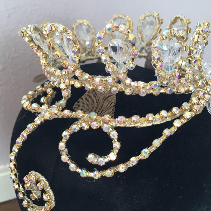Professional Gold AB Crystal Ballet Tiara Headpiece Aurora Royal Hearts NEW!