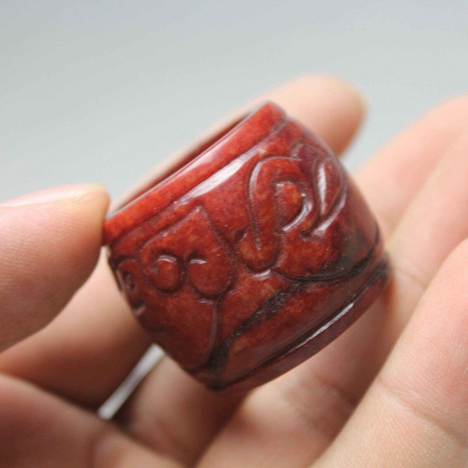 23mm China old jade Chinese hand-carved ancient dragon grain Ring Banzhi 2049