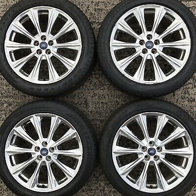"Set 4 Genuine Ford Edge 20"" Alloy Wheels Tyres 255 45 Kuga 10 spoke Chrome Look"