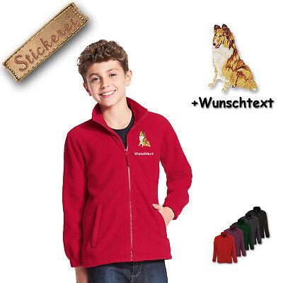 Collie Embroidered Fleece - Children - Fleece Jacket Embroidered Embroidery Dog Collie M1 + Desired Text