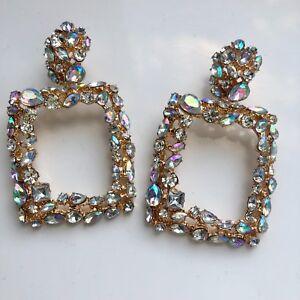 UK SELLER Brand New Zara Diamante Gold Rhinestone Crystal Rectangle Earrings