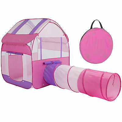 Kids Pop-Up Folding Playhouse Tent Tunnel Indoor/Outdoor W/ Stakes Carrying Case