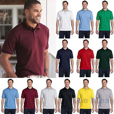 Hanes Mens EcoSmart Jersey Knit Polo Golf Sport Shirt S-4XL 054X-054 Mens Knit Casual Shirt