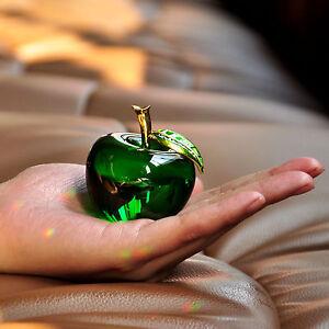 Vintage 3D Crystal Paperweight Glaze Apple Shape Figurine Glass Wedding Gift Hot