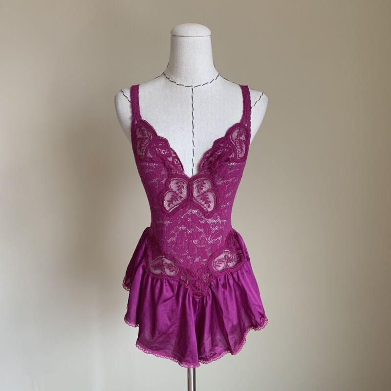 Vtg RARE Style # 90060 Pink OLGA Lites Lace Babydoll TEDDY nightie 1piece USA M