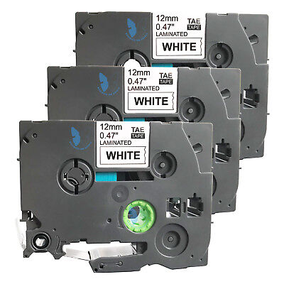 3 Compatible For Brother P-touch Tze Tze-231 Tz 231 Label Tape - 12mm Bkwhite