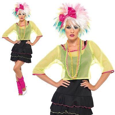 80s Pop Tart Costume Neon Retro Madonna Cyndi Lauper Womens Fancy Dress UK (Cyndi Lauper Fancy Dress Kostüm)