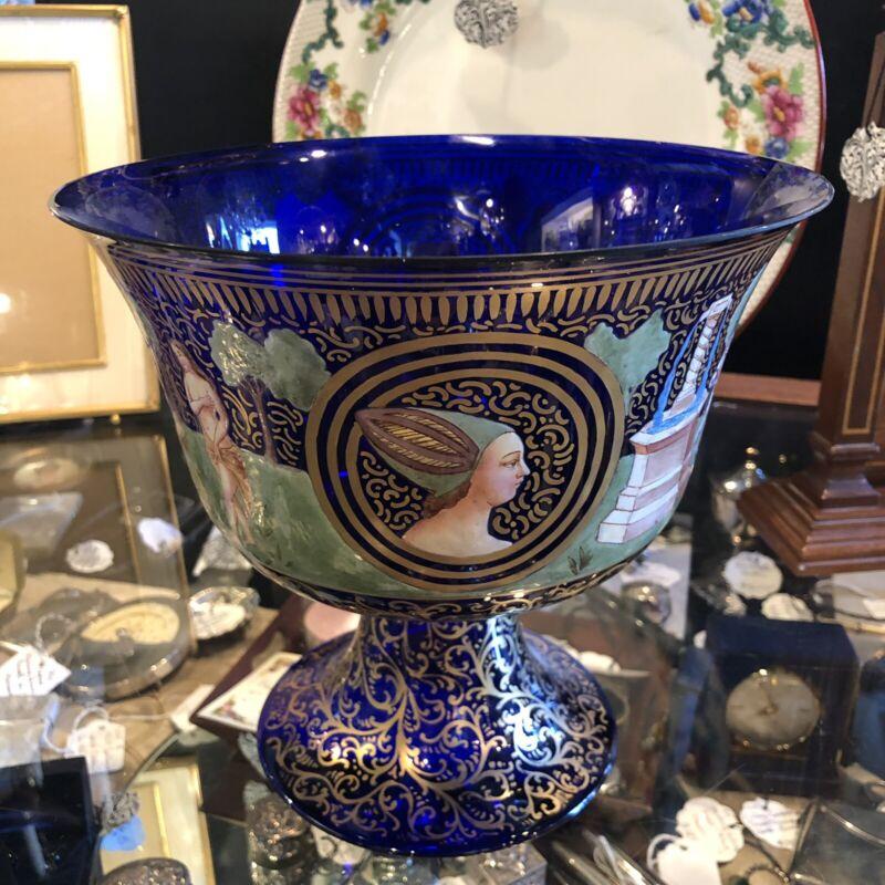 """Antique 9"""" Cobalt Blue Hand Painted Italian Renaissance Revival Fruit Bowl Gilt"""
