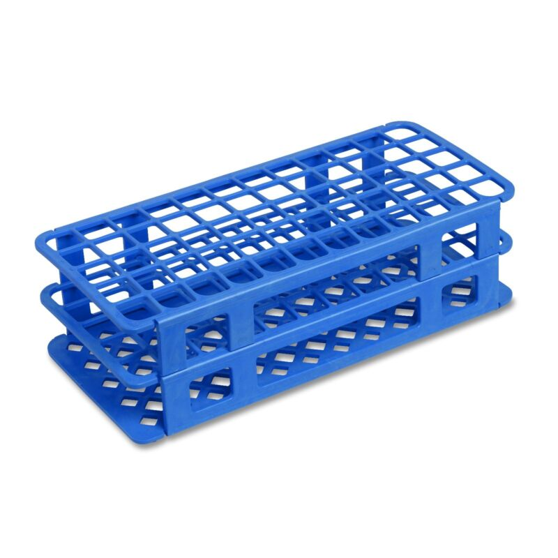 16 mm Plastic Test Tube Rack, 60 Holes, Blue