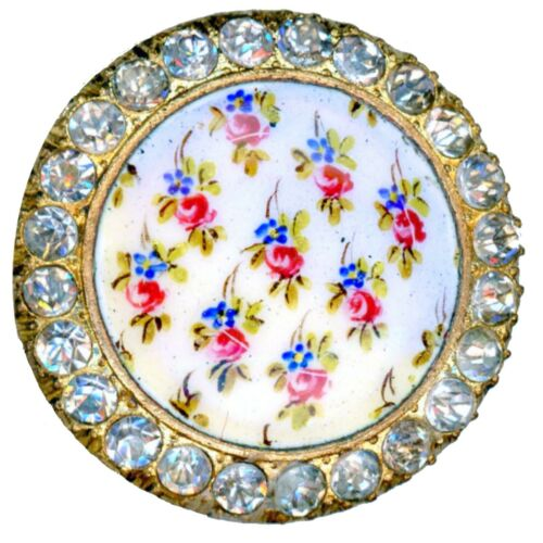 Button--Lovely Hand Painted Enamel Flowers & Sprig with Jewel Border