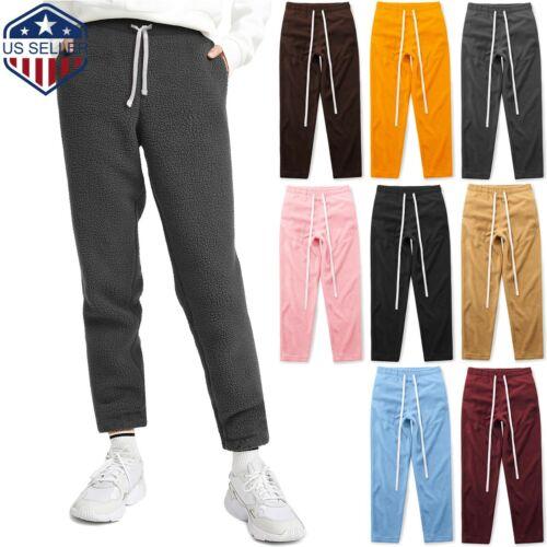 Mens Sweatpants Fleece Pajama Jogger Solid Plush Pocket Fuzzy Winter Pants