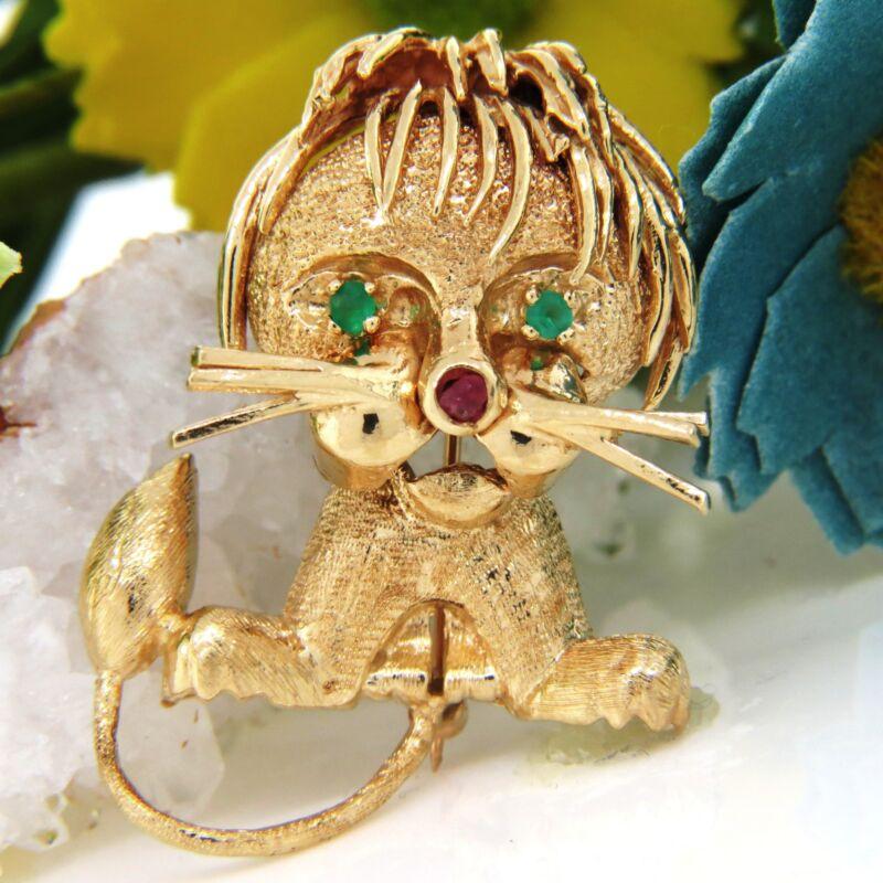 14K Yellow Gold Little Lion Emerald Eyes Ruby Nose Pin Brooch Estate VTG