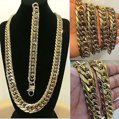 18mm 14k GOLD FINISH STAINLESS STEEL MIAMI CUBAN LINK CHAIN & BRACELET