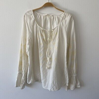 Zara Floral Embroidered  Boho Top Blouse Size M