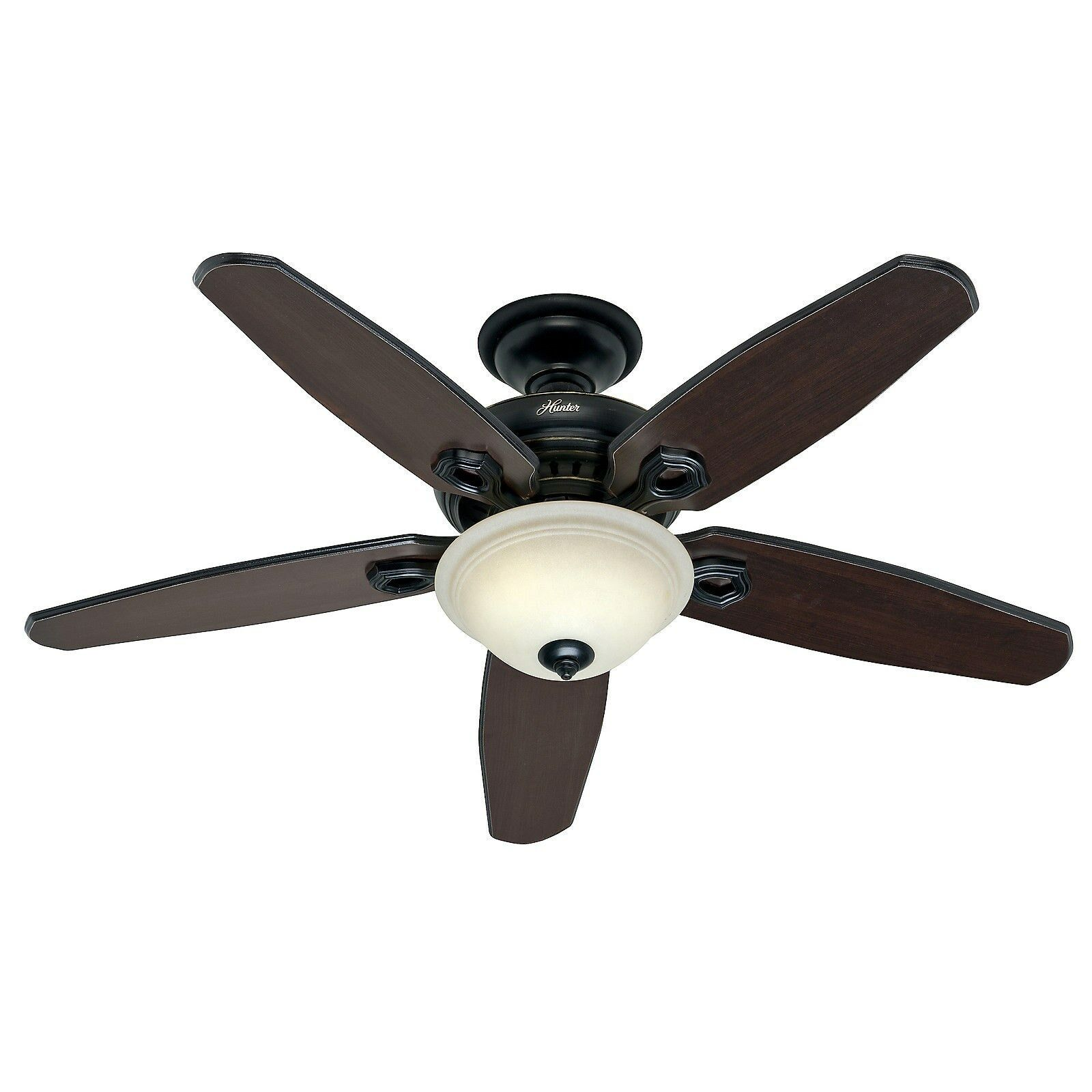 hunter 52 in basque black ceiling fan with light remote control ebay. Black Bedroom Furniture Sets. Home Design Ideas