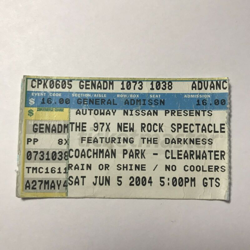 The Darkness Coachman Park 97X Clearwater FL Concert Ticket Stub Vintage 2004