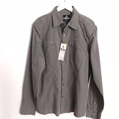 HOT AIR  Casual Shirt Button Down XL Long Sleeve Pilot Gray Men $88 ()