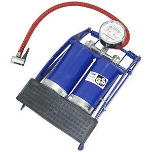 Double Barrel Twin Cylinder Foot Pump Air Inflator Pressure Gauge Car Bike Van
