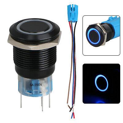19mm 5pin Momentary Push Button Switch Onoff Socket Plug Wblue Led Waterproof