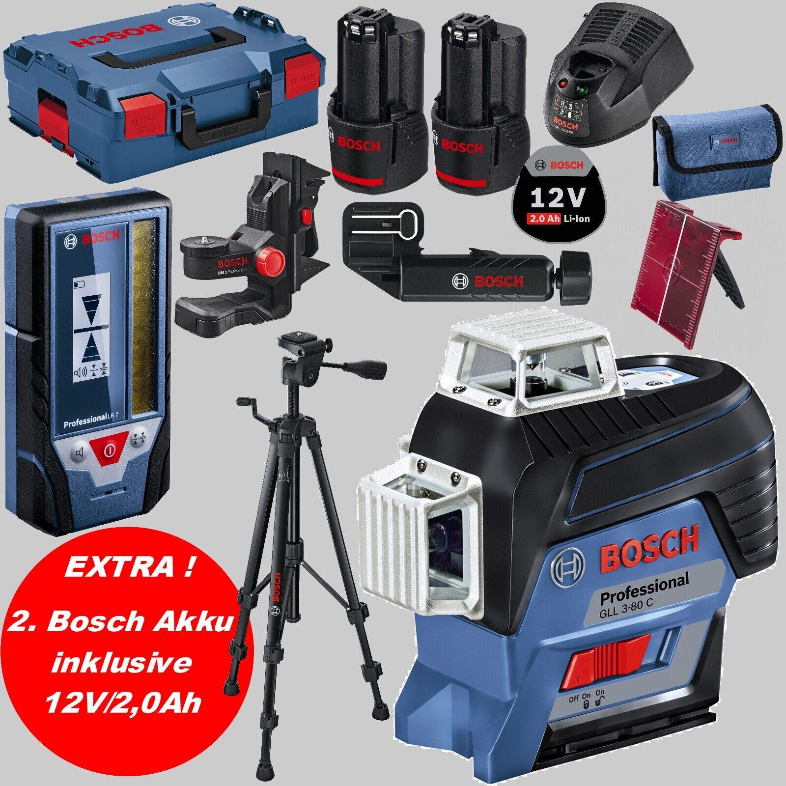 BOSCH Linienlaser GLL 3-80 C Laserempfänger LR 7 Stativ BT 150 +LG +2xAkku 2,0Ah