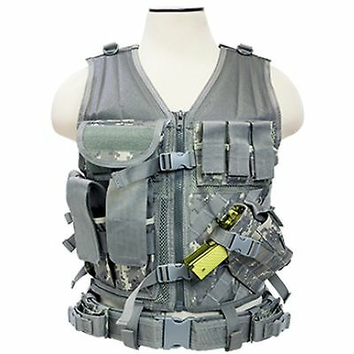 NcSTAR CTV2916D PVC Military Tactical Heavy Duty Vest w/ Pistol Holster ACU