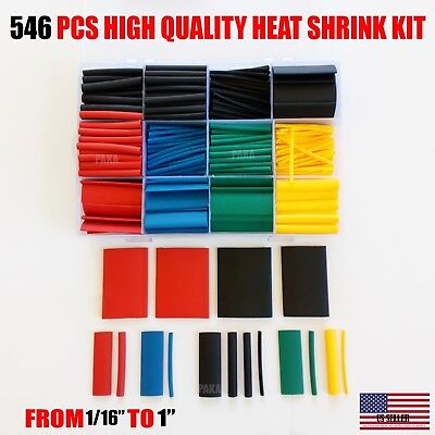 546 Pcs 21 Heat Shrink Tube Tubing Sleeve Wrap Wire Assorted Kit Made In Usa