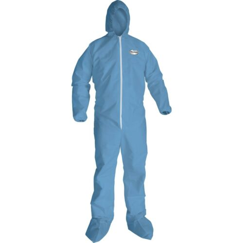 KLEENGUARD A65 Flame Resistant Coveralls Hooded Booted Blue 4XL Zip Storm Flap