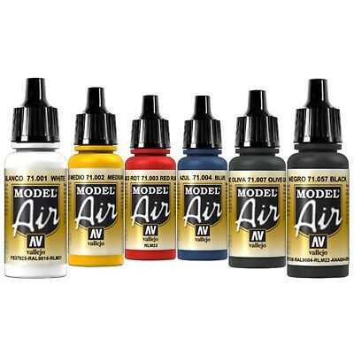 Vallejo Airbrush Farben Set 6x 17ml *Basis Airbrushfarben Acrylfarben