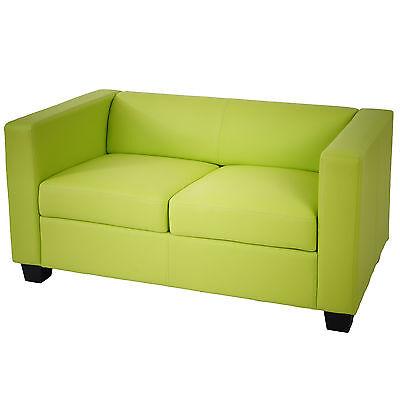 2er Sofa Couch Loungesofa Lille Kunstleder, hellgrün