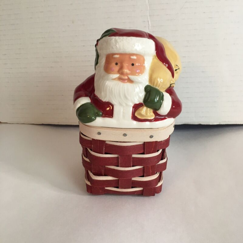 Longaberger 2014 Santas Chimney Topper And Basket Perfect Condition Christmas